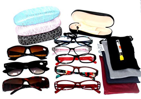 CLEARANCE Price READING GLASSES Fashionable Ladies EYEGLASSES Plastic Women's Styles Wholesale Lot 6 Pack 5 Clear 1 Bifocal Sunglasses 5 Soft Pouches 1 Hard Case 1 Cord 1 Screwdriver Set 14 +3.00