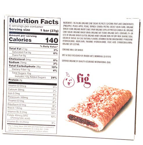 Trader Joe's Fig Cereal Bars 6 Bars/box (6 Pack)