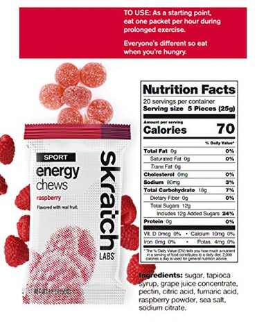 SKRATCH LABS Sport Energy Chews, Raspberry (10 pack) - Developed for Athletes and Sports Performance, Gluten Free, Dairy Free, Vegan