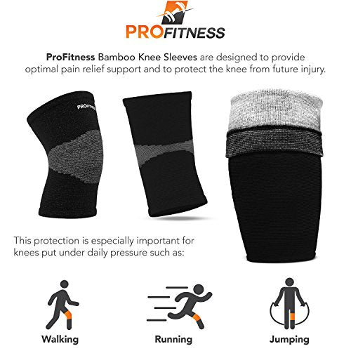Pro Fitness Bamboo Knee Sleeve For Joint Pain Improved Circulation Compression â?? Effective Support