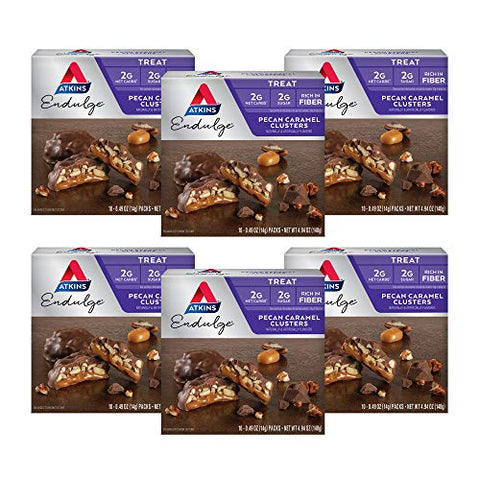 Atkins Endulge Treat, Pecan Caramel Clusters, Keto Friendly, 10 Count, Pack of 6