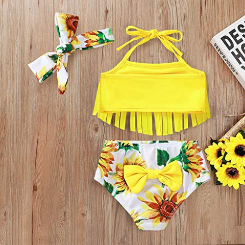 0-3T Infant Baby Girls Halter Sling Bikini Swimwear Tassel Print Split Swimsuit + Hairband 2pcs Set (Yellow, 2-3 Years)