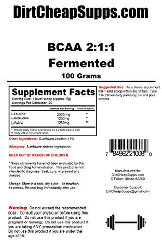 DirtCheapSupps BCAA's Amino Acid powder-100g yielding 20 Servings-(Fermented and Instantized) Vegan Unflavored BCAA Powder
