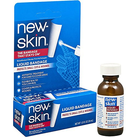 New-Skin Liquid Bandage 1.0 FL OZ, Liquid Bandage for Hard-to-Cover Cuts, Scrapes, Wounds, Calluses, and Dry, Cracked Skin (.2 Pack(1 FL OZ))