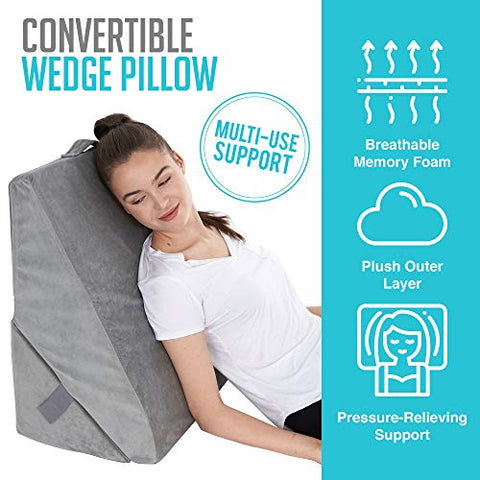 Bed Wedge Pillow - Adjustable 9&12 Inch Folding Memory Foam Incline Cushion System for Legs and Back Support Pillow - Acid Reflux, Anti Snoring, Heartburn, Reading  Machine Washable