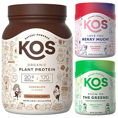 KOS PowerPlant Bundle, Organic Plant Based Protein Powder 30 Servings (Chocolate) + KOS Organic Greens (30 Servings) + KOS Organic Reds (45 Servings)