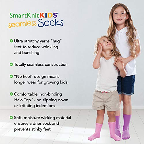 SmartKnitKIDS Seamless Sensitivity Socks - 3 Pack (Pink Purple & White, Large)