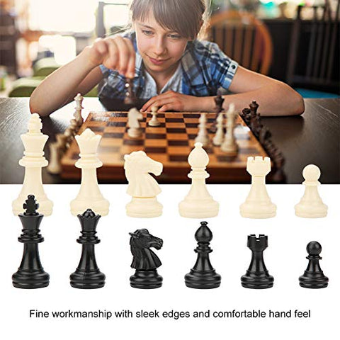 ABS International Chess Pieces Complete Set, 32pcs Chess Pieces Black&White Standard Chess Figures Pieces Replacement