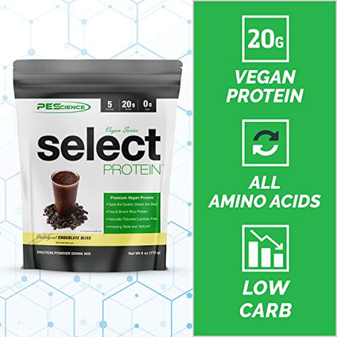PEScience Select Vegan Plant Based Protein Powder, Chocolate Bliss, 5 Serving, Premium Pea and Brown Rice Blend