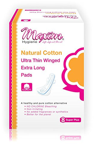 Ultra Thin Cotton Overnight Pads by Maxim (Super Plus): 100% Cotton Winged Feminine Menstrual Pads for Sensitive Skin - Chlorine Free, Chemical Free