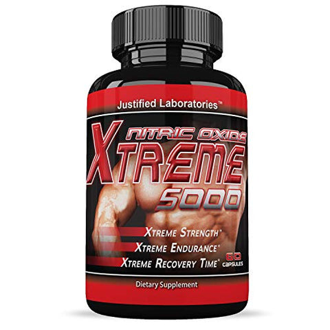Nitric Oxide Xtreme 5000 Increase Strength Stamina Endurance Supplement 60 Capsules Per Bottle (3 Bottles)