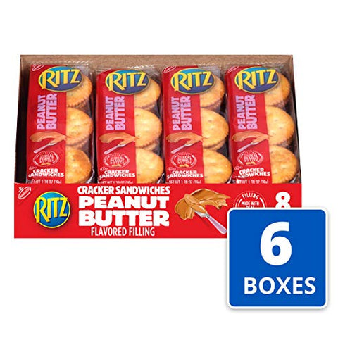 RITZ Peanut Butter Sandwich Crackers, 8 - 1.38 oz Packs (6 Boxes)