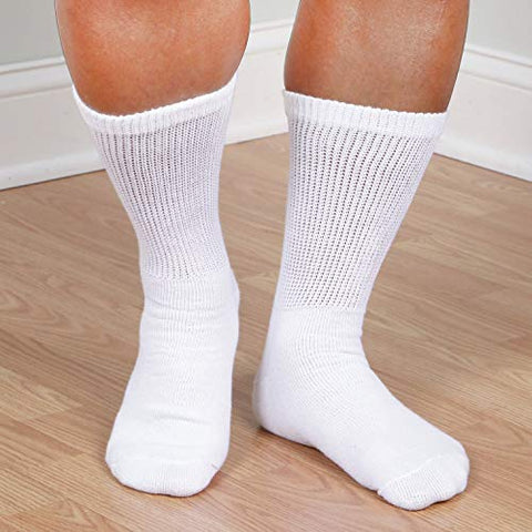 Unisex Buster Brown Wide Calf Diabetic Socks, Bariatric for Men Women- 3 Pairs - White - XL - 3 Pairs