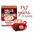 Image of Hills Bros. Instant Cappuccino Mix, Mocha Mint Cappuccino Mix - Easy to Use, Enjoy Coffeehouse Flavor from Home -Decadent Cappuccino with a Mix of Chocolate and Mint Flavors (15 Ounces, Pack of 6)