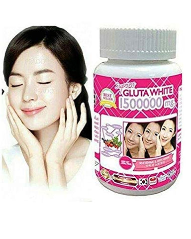 1 Bottle X 30 Softgels Supreme Gluta White 1500000mg. Super Whitening Glutathione Anti - Aging. (Supreme Whitening Skin Boost up Collagen Remove Dark Spot and Scar Tighten Pore Healthy Skin and Hair)