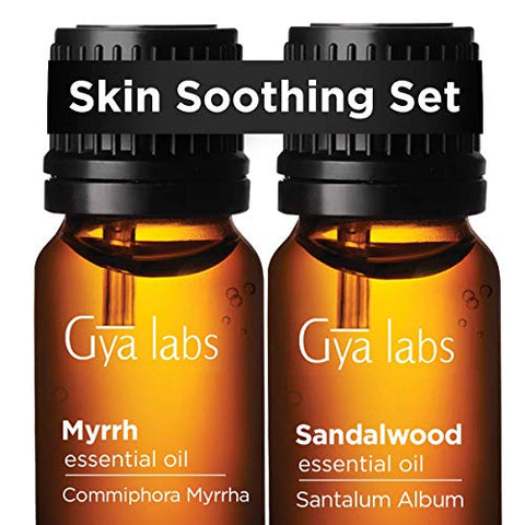 Gya Labs Skin Soothing Set - Myrrh & Sandalwood Oil for Smooth & Flawless Skin Care - 100% Pure Therapeutic Grade Essential Oils Set to Soothe & Hydrate Sensitive & Dry Skin - 2x10ml