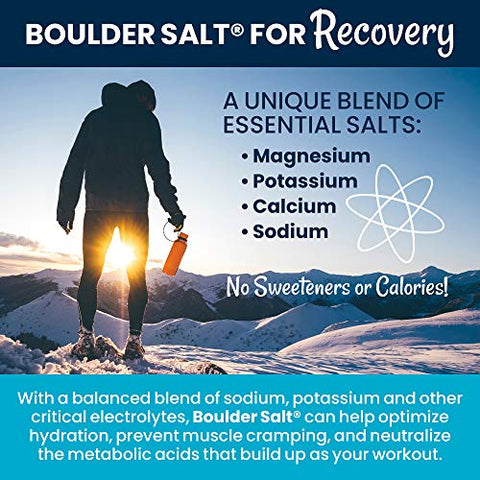 Boulder Salt Electrolyte Powder and Hydration Pack | Oral Rehydration | Natural Alkaline Salt for Energy and Stamina | No Sugar | 8oz Bag | 113 Servings