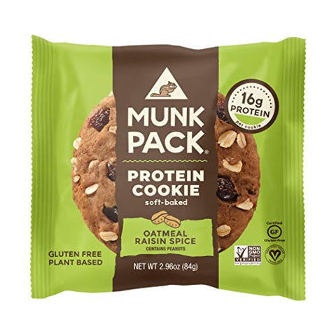 Munk Pack Oatmeal Raisin Spice Protein Cookie with 16 Grams of Protein | Soft Baked | Vegan | Gluten, Dairy and Soy Free | 6 Pack