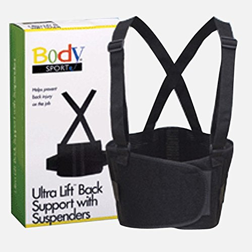 "Body Sport Ultra Lift Back Support W/Suspenders, Black, 2 X Large 54"" 65"" Waist, 9"" Wide, Latex Free"