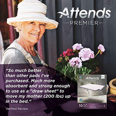 Attends Premier Underpads with Dry-Lock Technology for Adult Incontinence Care, Unisex, 30