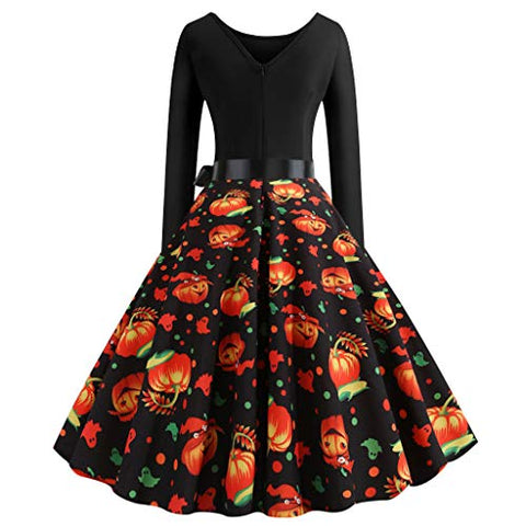 Women Vintage Cocktail Party Dress 1950s Retro Pumpkin Ghost Print Patchwork Stitched A-line Halloween Swing Dress Black
