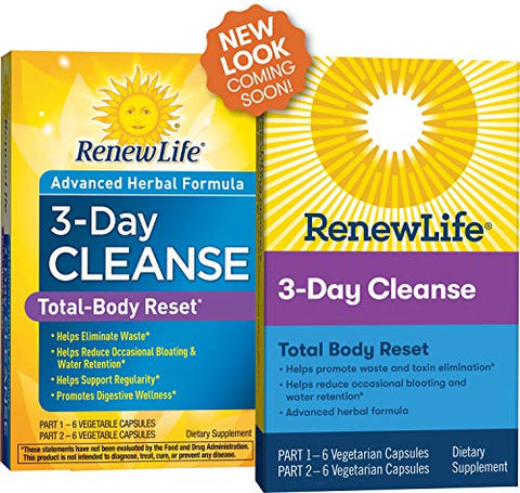 Renew Life Adult Cleanse Total Body Reset, Advanced Herbal Formula - 2-Part, 3-Day Program - Gluten, Dairy & Soy Free - 12 Vegetarian Capsules