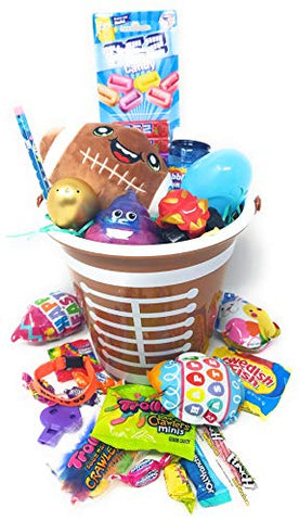NS Kids Boy Gift Set for Happy Easter Birthday Holiday Premade Football Egg Stuffers Basket Bundle Assorted Toys, Assorted Candy Boys