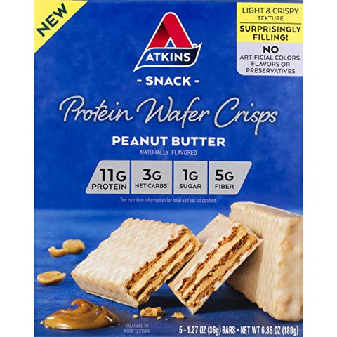 Atkins Protein Wafer Crisps, Peanut Butter, Keto Friendly, 5 Count 2-Pack