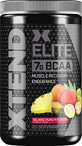 XTEND Elite BCAA Powder Island Punch Fusion | Sugar Free Post Workout Muscle Recovery Drink with Amino Acids | 7g BCAAs for Men & Women| 20 Servings
