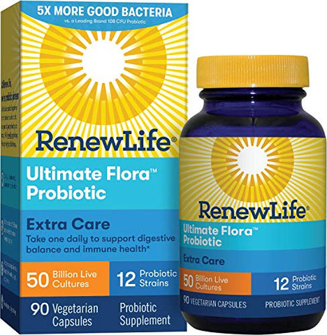 Renew Life Adult Probiotic   Ultimate Flora Extra Care Probiotic Supplement For Men & Women   Shelf