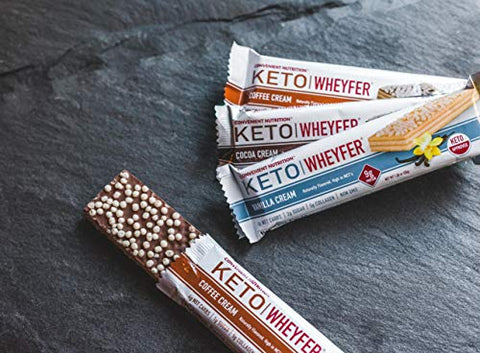 Convenient Nutrition Keto WheyFer Protein Snack Bars I Low Carb, Low Sugar, Ketogenic I Variety Pack 10 Count I Vanilla Cream, Cocoa Cream & Coffee Cream Flavors