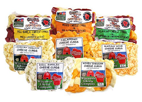 Wisconsin Deluxe Cheese Curd Sampler - Mixed, Garlic Dill, Jalapeno, Buffalo Wing and Hickory Hollow (Smoked) Cheese Curds, Mixed n Sticks, Garlic Dill n Sticks, Jalapeno N Jalapeno Cheddar Sticks