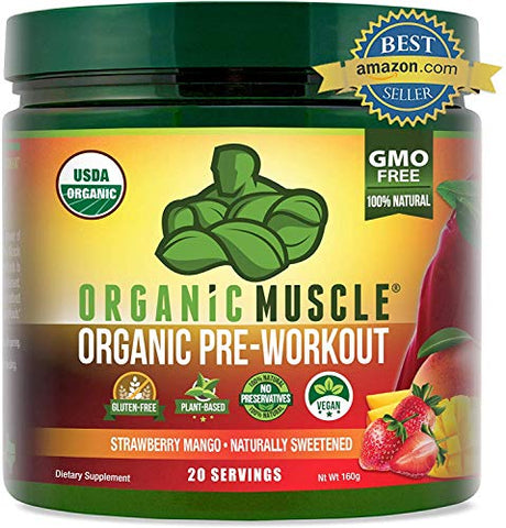 ORGANIC MUSCLE #1 Rated Organic Pre Workout PowderNatural Vegan Keto Pre-workout & Organic Energy Supplement for Men & Women- Non-GMO, Paleo, Plant BasedPineapple Coconut-160g