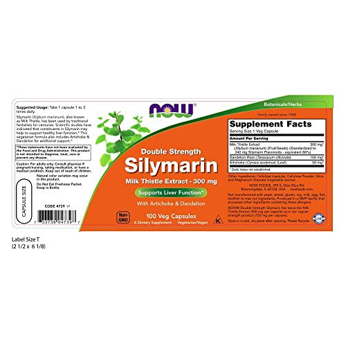Now Supplements, Silymarin Milk Thistle Extract 300 Mg With Artichoke And Dandelion, Double Strength