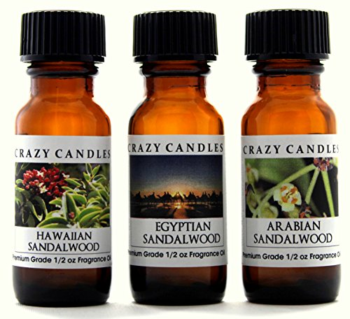 Crazy Candles 3 Bottles Set, 1 Hawaiian Sandalwood, 1 Egyptian Sandalwood, 1 Arabian Sandalwood 1/2 Fl Oz Each (15ml) Premium Grade Scented Fragrance Oils