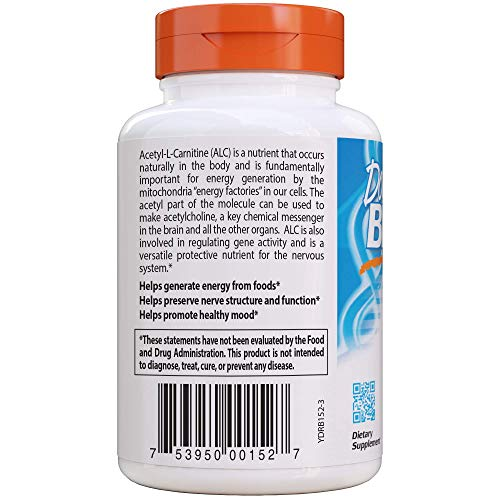 Doctor's Best Acetyl-L-Carnitine with Biosint Carnitines, Non-GMO, Vegan, Gluten Free, 500 mg 120 Veggie Caps