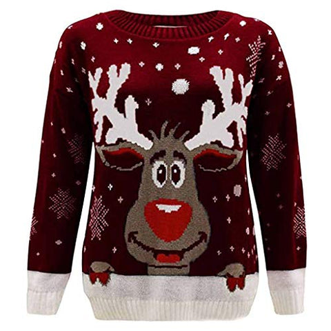 KYLEON Women's Christmas Sweatshirt Elk Santa Casual Crewneck Funny Long Sleeve Tunic Top Pullover Hoodies Blouse Shirt