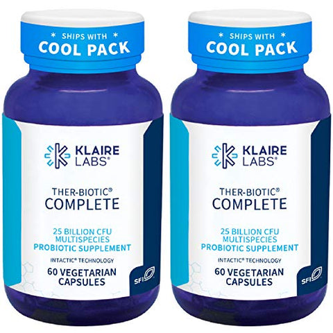 Klaire Labs Ther-Biotic Complete Probiotic - 25 Billion High CFU Blend, The Original Hypoallergenic Probiotic for Men & Women, Dairy-Free (60 Capsules, 2 Pack)