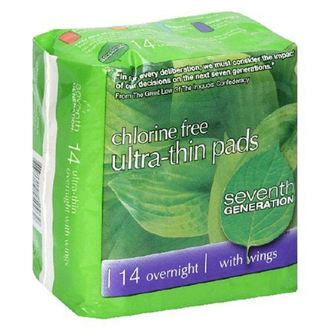 Seventh Generation Ultra-Thin Pads, Overnight, with Wings, 14 pads (Pack of 6)