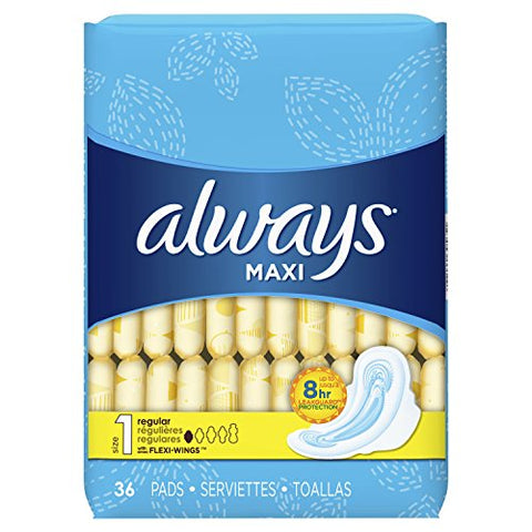 Always Regular Maxi Pads with Wings, Unscented