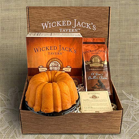 Wicked Jack's Tavern Captain's Stash Gift Box, 20-Ounce Rum cake And 12-Ounce Coffee, 2-Pound Box