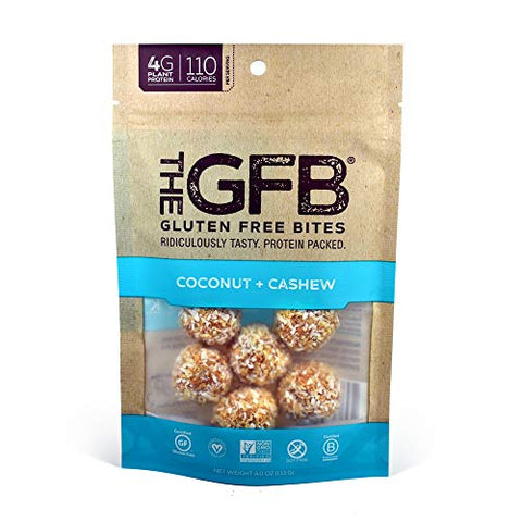 The GFB Gluten Free Protein Bites, Coconut + Cashew, 4 Ounce (6 Count), Vegan, Dairy Free, Non GMO, Soy Free