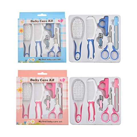 Youngy Nail Hair Daily Care Tool, 6 Pieces Baby Nail Hair Daily Care Kit Born Kids Grooming Brush and Manicure Set - Blue