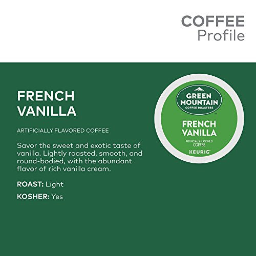 Green Mountain Coffee Roasters French Vanilla, Single Serve Keurig K Cup Pods, Flavored Light Roast