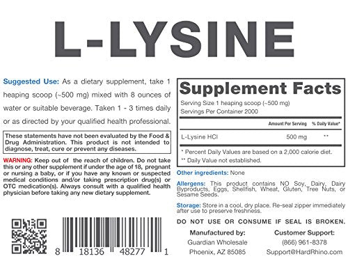 Hard Rhino L-Lysine Powder, 1 Kilogram (2.2 Lbs), Unflavored, Lab-Tested, Scoop Included
