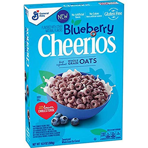 Blueberry Cheerios Cereal, Gluten Free Breakfast Cereal 10.9 oz (2 Pack) (10.9 oz)