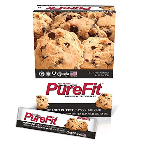 PureFit Peanut Butter Chocolate Chip Premium Nutrition Bars, 15 Count | 18G Protein, Performance Enhancement & Energy Bar - Gluten Free, Dairy Free, Low Carb, Vegan