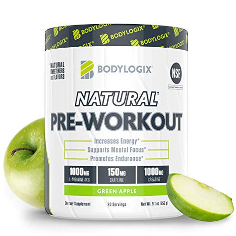 Bodylogix Natural Pre-Workout Powder, NSF Certified, Green Apple, 30 Servings