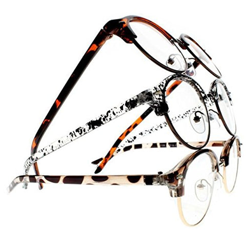 3 piece Unisex Retro Round Frame Clear Lens Reading Glasses Lightweight (Leopard & Tortoise & Speckle, 4.00)