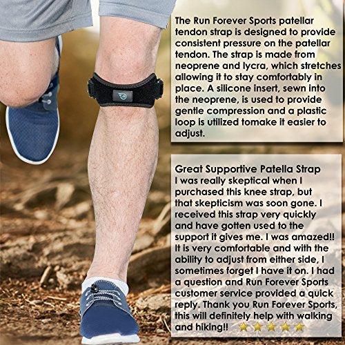 Patella Strap Knee Brace Support for Arthritis, ACL, Running, Basketball, Meniscus Tear, Sports, Athletic. Best Knee Brace for Hiking, Soccer, Volleyball & Squats (1 Pack)